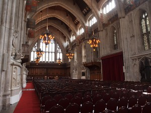 Inside the main hall of the Guildhall